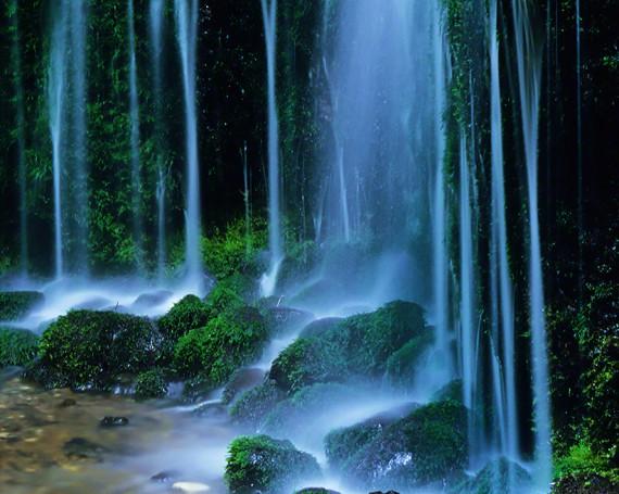 苔の岩に落ちる幾筋の滝