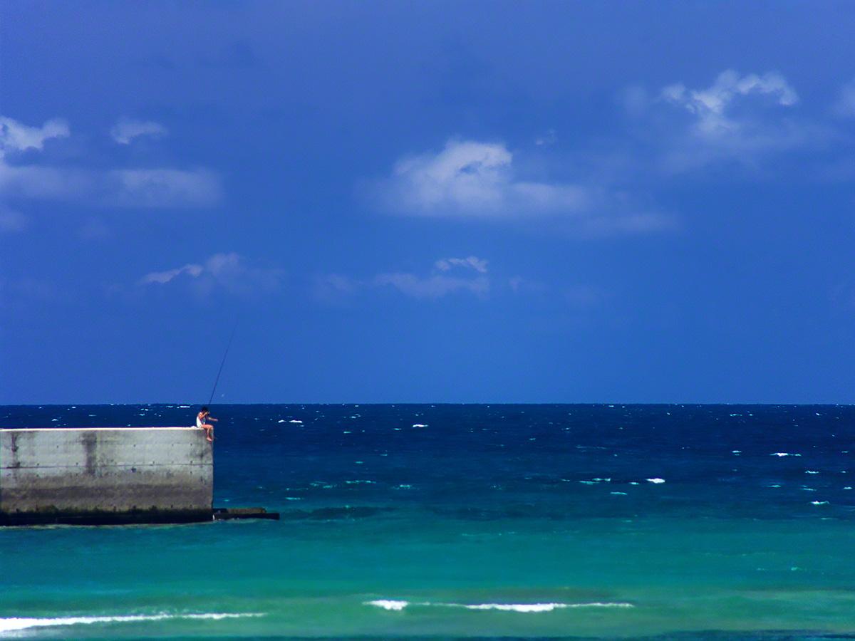 サンゴ礁の堤防で海釣りをする少年